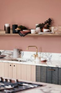 Couleur Terracotta sur les murs de la cuisine en bois