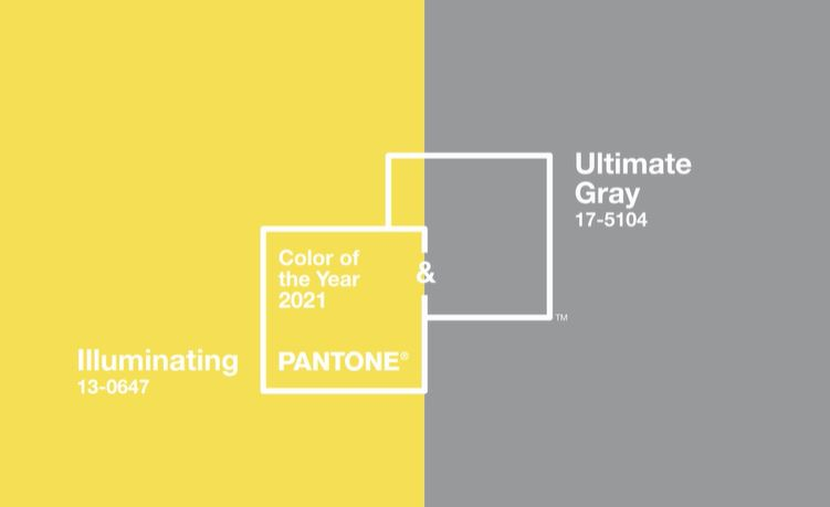 Duo de couleurs Pantone : Illuminating Jaune et Ultimate Gray gris