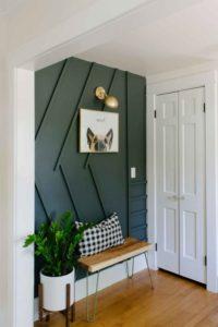 peinture murale vert dans l'entrée