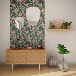 style bohème et nature papier peint fleuri mur blanc