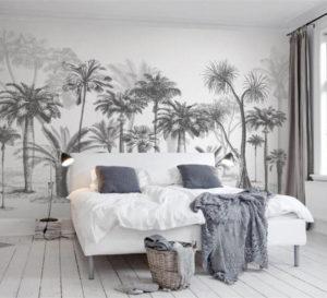 style panoramique papier peint paysage forêt