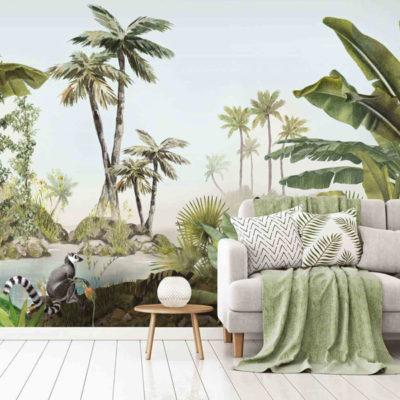 style panoramique papier peint paysage jungle
