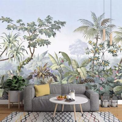 style panoramique papier peint paysage tropical